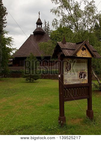 Church of Spala.  Spala, Poland - July 16, 2016 The wooden church of Our Lady Queen of the Polish Crown (1923) in Spala.