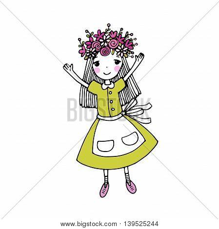 Beautiful little girl in a wreath. Hand drawing isolated objects on white background. Vector illustration.