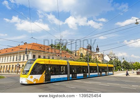 Modern Tramway On The Street Of Debrecen