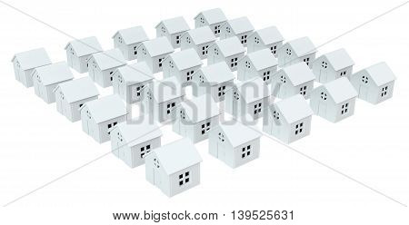 House white small models isolated 3d illustration horizontal
