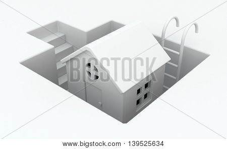 Small white house pit deep 3d illustration horizontal