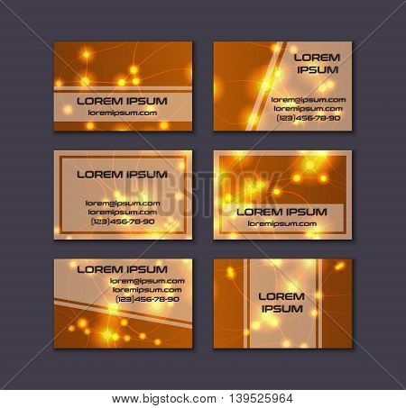 Business Card Collection. Abstract Shining Glow Decorative Elements With Transparent Layout