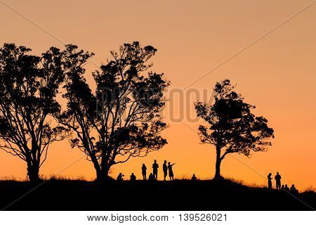 silhouette of group of people watching sunset