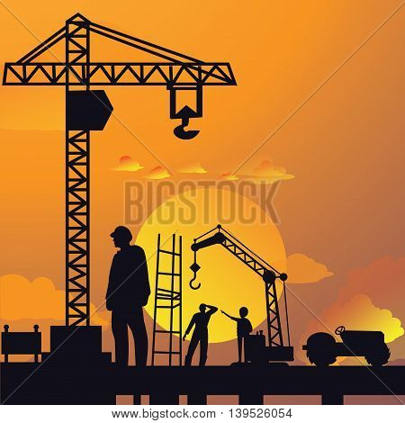 silhouette of man working on construction site with crane and building in sunset sky dramatic illustration vector