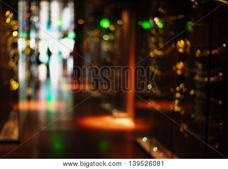 blur bokeh green yellow light of technology abstract background