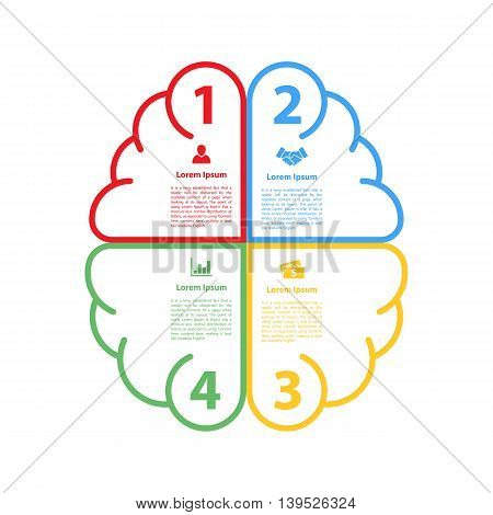four steps cycle or cycle infographic brain shape layout concept vector illustration