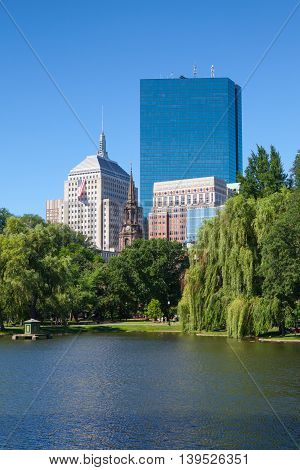 BOSTON MASSACHUSETTS USA - JULY 2 2016: The Public Garden founded 1837.Also known as Boston Public Garden is a large park located in the heart of Boston Massachusetts adjacent to Boston Common.