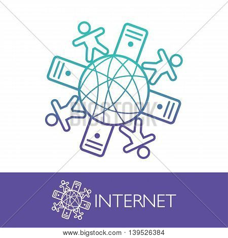 Online Hosting Network Communication Company Logo Vector
