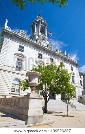 PORTLAND MAINE - JULY 5 2016: The Portland City Hall is the center of city government in Portland Maine.The structure was built in 1909-12 and was listed on the National Register of Historic Places in 1973