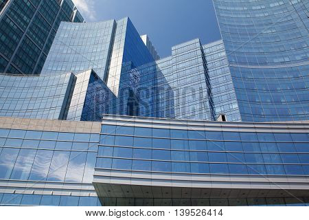 BOSTON,MASSACHUSETT,SUSA - JULY 15,2016: Detail of Intercontinental Hotel. It opened in November 2006 and was designed by Boston-based firm Elkus Manfredi Architects. It has 424 guests rooms.