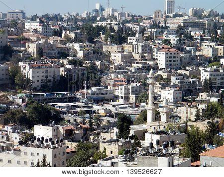 Houses and Minaret on the hillside in Jerusalem Israel