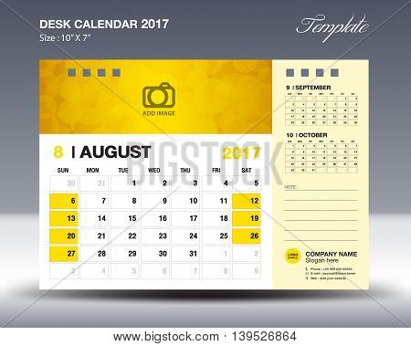 AUGUST Desk Calendar 2017 Template for business