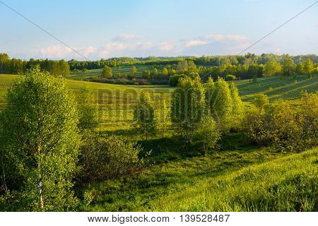 Beautiful hills landscape. Hillside landscape. Rolling hills. Hills and sky. Beautiful landscape.