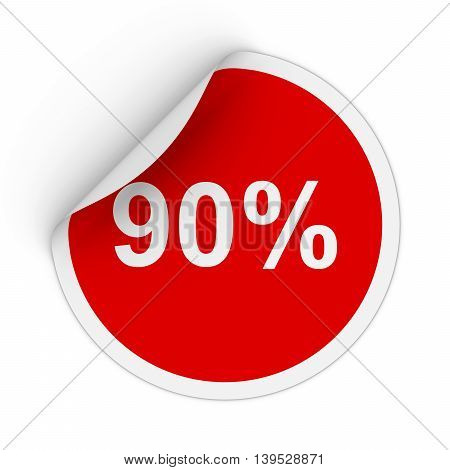 90% - Ninety Percent Red Circle Sticker With Peeling Corner 3D Illustration
