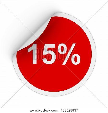 15% - Fifteen Percent Red Circle Sticker With Peeling Corner 3D Illustration