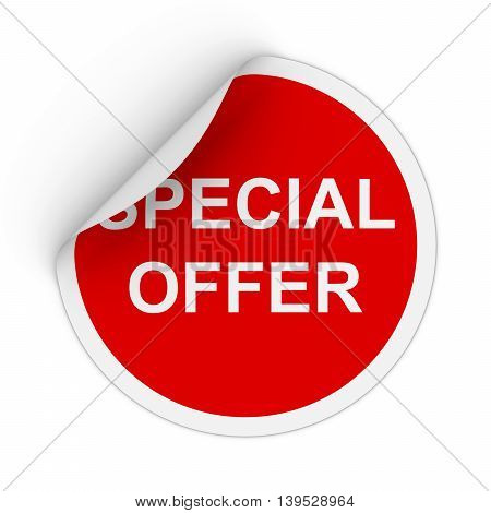 Special Offer Text Red Circle Sticker With Peeling Corner 3D Illustration