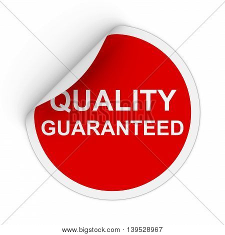 Quality Guaranteed Text Red Circle Sticker With Peeling Corner 3D Illustration