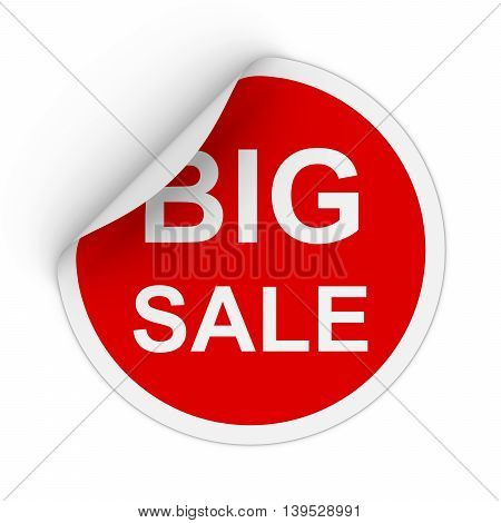 Big Sale Text Red Circle Sticker With Peeling Corner 3D Illustration