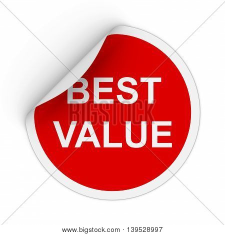 Best Value Text Red Circle Sticker With Peeling Corner 3D Illustration