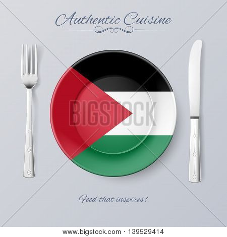 Authentic Cuisine of Palestine. Plate with Palestinian Flag and Cutlery