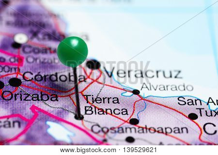 Tierra Blanca pinned on a map of Mexico