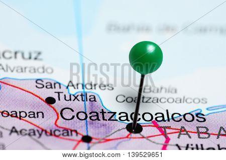 Coatzacoalcos pinned on a map of Mexico