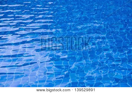 Beautiful Gentle wave in swimming pool with sun reflection background