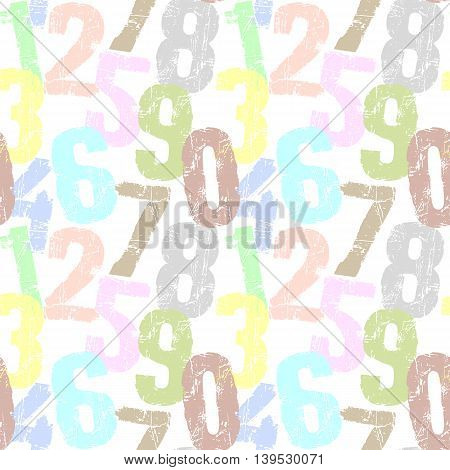seamless grunge numbers background pattern vector illustration