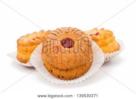 muffins with filling isolated on white background
