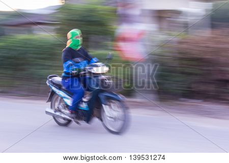 Motorcycling Panning In Thailand , asia style