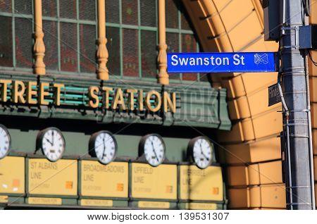 Swanston Street and Flinders Street Station in Melbourne Australia