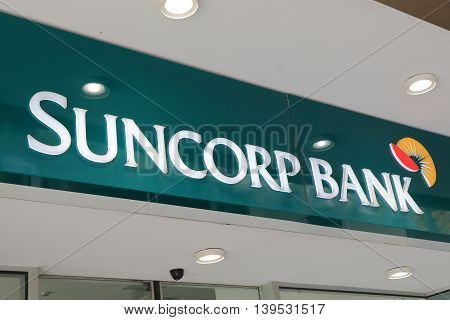 MELBOURNE AUSTRALIA - JULY 16, 2016: Suncorp bank logo. Suncorp is an Australian finance, insurance, and banking corporation based in Brisbane, Queensland, Australia.