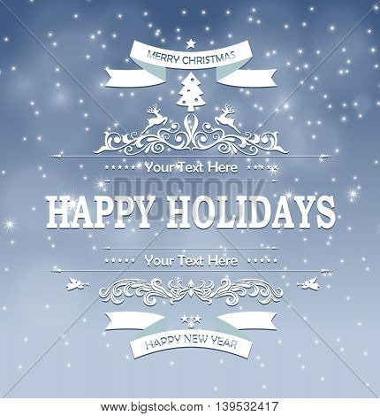 Christmas decoration with blue background for you design