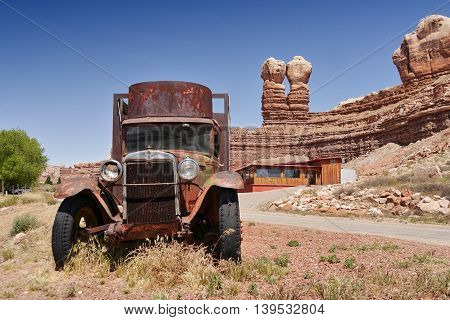 Chevrolet, historic truck. Nearby parking at Twin Rocks, Utah, USA. May 16, 2016