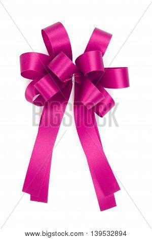 Beautiful Pink Bow From Satin Ribbon