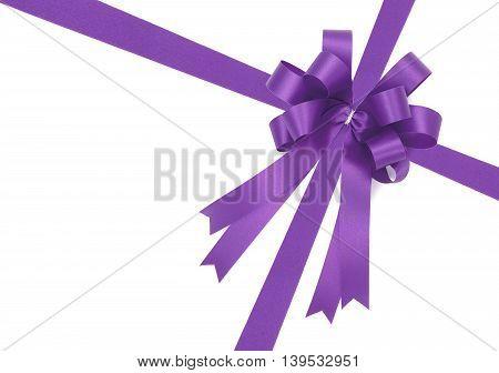 Beautiful Purple Bow From Satin Ribbon