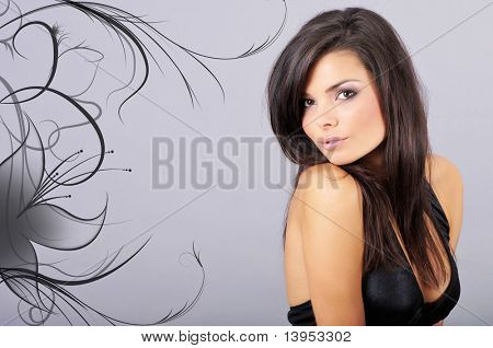 Close-up portrait of a beautiful brunette