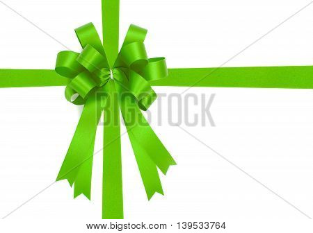 Beautiful Green Bow From Satin Ribbon