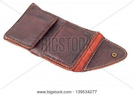 Men's leather wallet isolated on white background clipping path