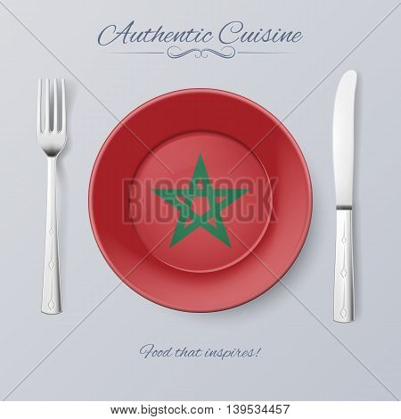 Authentic Cuisine of Morocco. Plate with Moroccan Flag and Cutlery