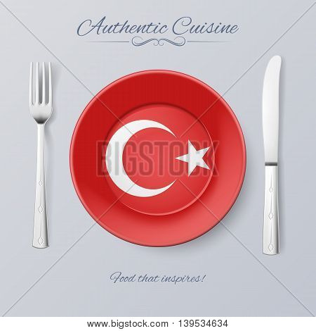 Authentic Cuisine of Turkey. Plate with Turkish Flag and Cutlery