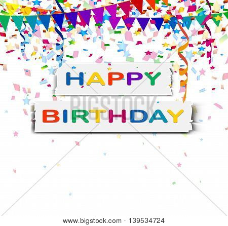 happy birthday with confetti background for you design