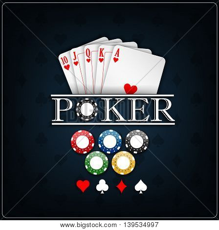 Illustration of Poker cards with casino chips on a blue background