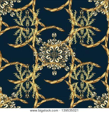Vintage pattern on black background with golden elements. Vector illustration.