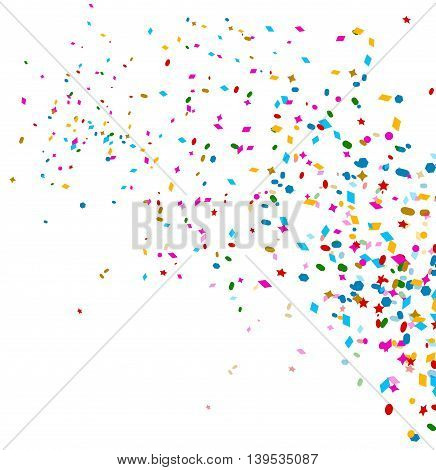 colorful confetti on white background for you design