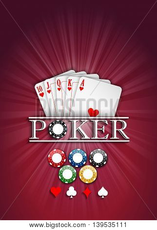 Cards and casino chips on a red background