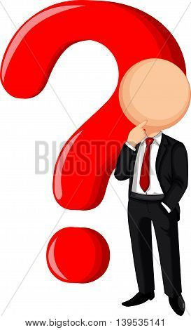 cute Businessman confused standing for you design