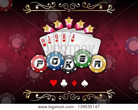 Background abstract red with playing cards with poker chips