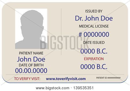 A sample of the patient's identification card in a medical facility.
