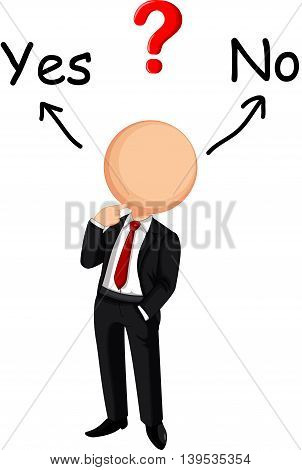 Businessman cartoon confused choose yes or no